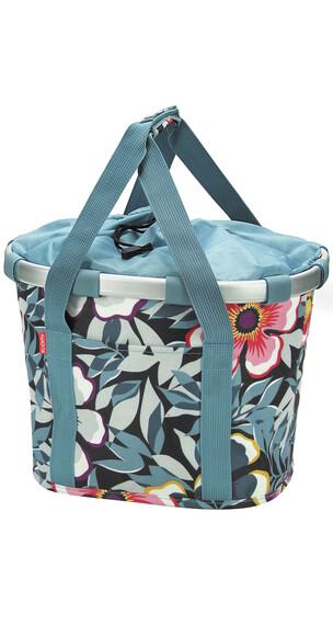 KlickFix Reisenthel fietsmand- en koffer flower grijs/blauw